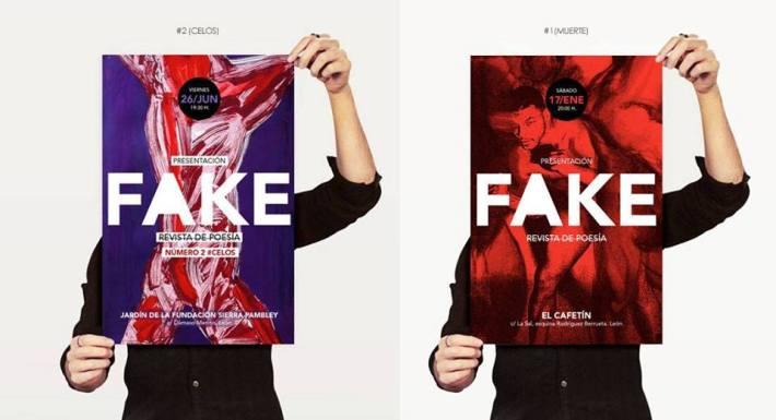 Cartel de los dos primeros números de la revista FAKE.