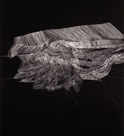 """Gabinete Pintura: Ruth Morán - Galería Ángeles Baños (Badajoz). """"Gravitaciones"""", 2013. Temple vinílico y tinta sobre papel, 140 x 100 cm."""