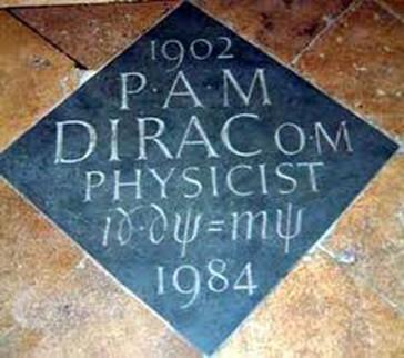Lápida de Paul Dirac con su ecuación en la abadía de Westminster.
