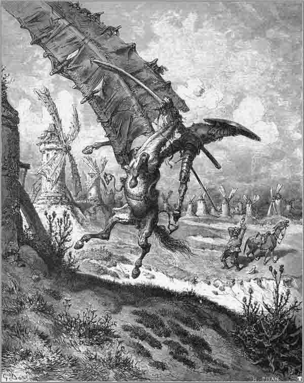 Don Quijote se enfrenta a los molinos de viento. Ilustración de Gustave Doré. 1860.