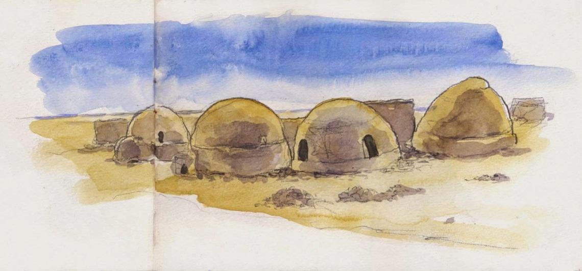 El Aaiún. Cárceles de adobe, construidas por los propios prisioneros, en la guerra contra Marruecos. © Ilustración: Javier de Blas.