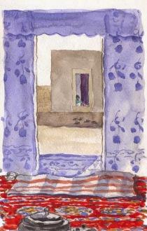 """Vista de la sala para jóvenes, desde la """"gaitun"""" de los hombres. © Ilustración: Javier de Blas."""