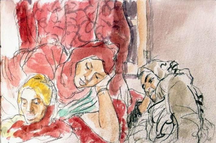 Las visitas son el alma de las relaciones en la sociedad saharaui. Mujeres comentan, relajadas, cosas de la tablet. © Ilustración: Javier de Blas.