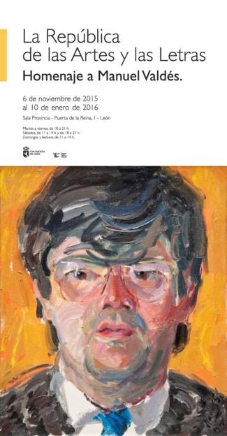 El cartel, con un retrato de Manuel Valdés realizado por el pintor Modesto Llamas Gil.