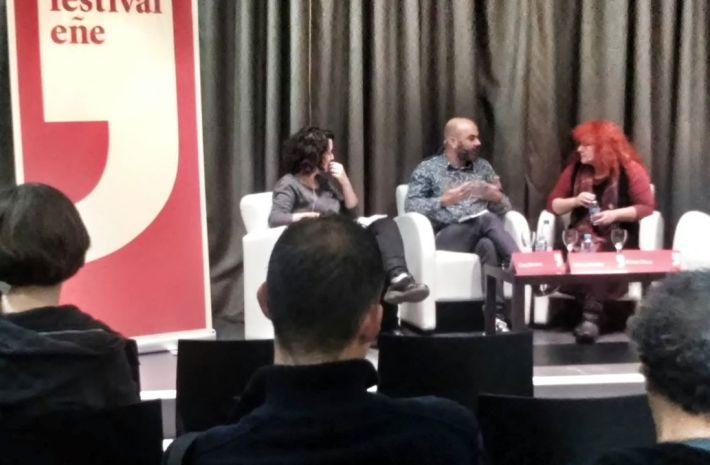 Clara Morales, Manuel Cuéllar y Eloísa Otero durante la mesa redonda en el Festival Eñe.