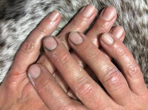 Las manos de Charo Acera Rojo, manchadas de pintura.