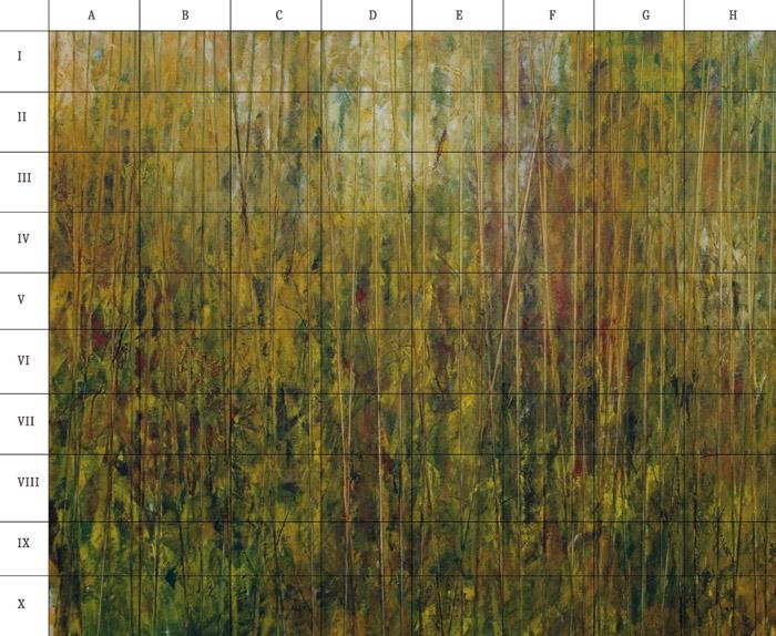 El cuadro final de Juan Rafael para la galería Ármaga, fragmentado.