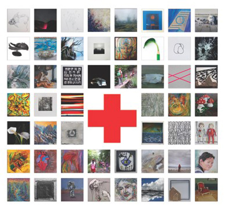Tarjetón de la muestra colectiva a beneficio de Cruz Roja que se puede ver durante el mes de diciembre en el Camarote Madrid.