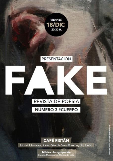 Cartel de la presentación de FAKE#3, sobre una obra de Erika Seguín Colás. El diseño es de Daniel Caballero Molina.