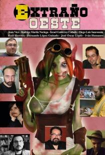 Los ocho autores sobre la portada del libro (obra de Artur Golart), en un montaje de Rafa Murciego.