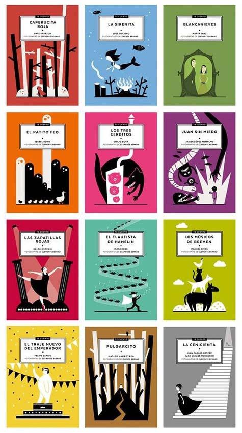 Portadas de los doce cuentos de la colección.