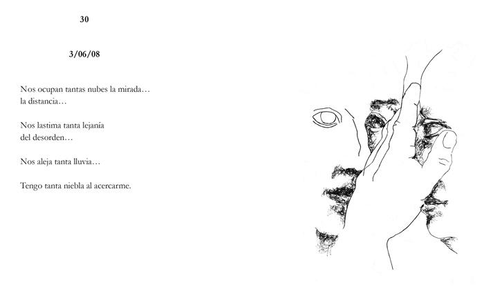 Dos páginas del libro, con un poema de Jorge Pascual y un dibujo de Amancio.
