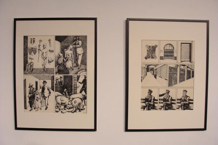 Dos de las obras de Andrés Rábago, procedentes de la época en la que firmaba como OPS. Foto: L. Fraile