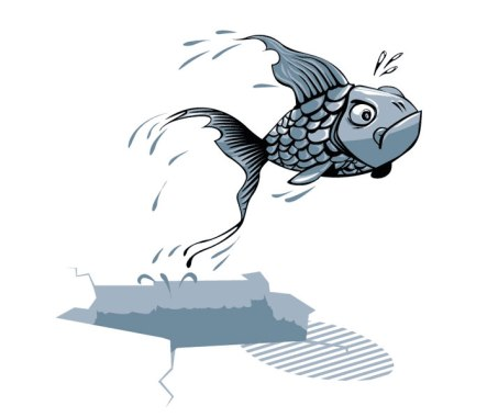 """""""Pez fuera del agua"""". Ilustración de Asier de la Fuente."""