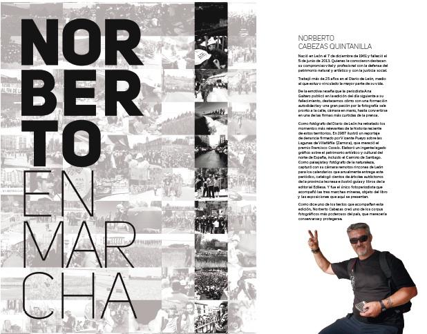 """Portada y solapa del libro """"Norberto en marcha""""."""