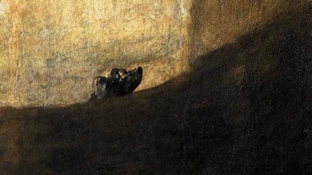 Detalle del 'Perro semihundido', una de las pinturas negras de Goya.