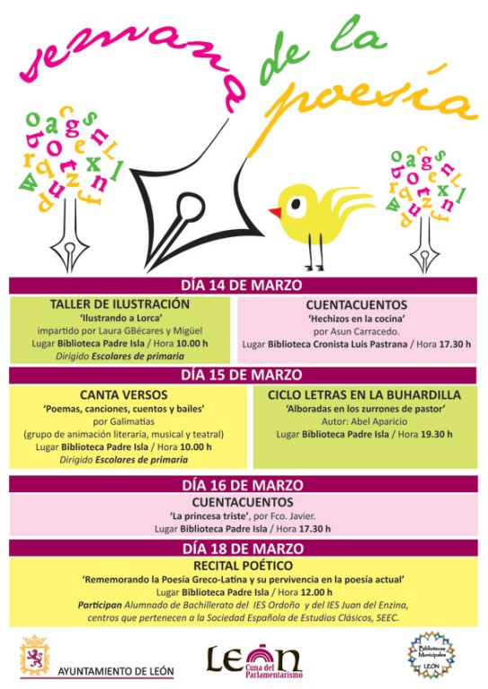 """Cartel """"Semana de la Poesía"""" en León."""