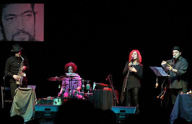 Imagen del cuarteto Sin Red durante un concierto de homenaje a Julio Cortázar.
