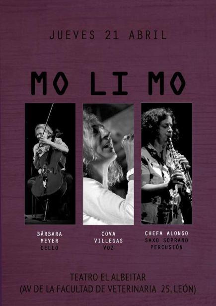 """Cartel de """"Molimo"""" para su concierto en El Albéitar (León)."""