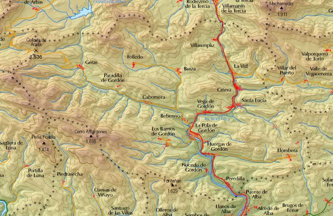 Mapa de la zona de Geras y Paradilla, en la comarca leonesa de Gordón.