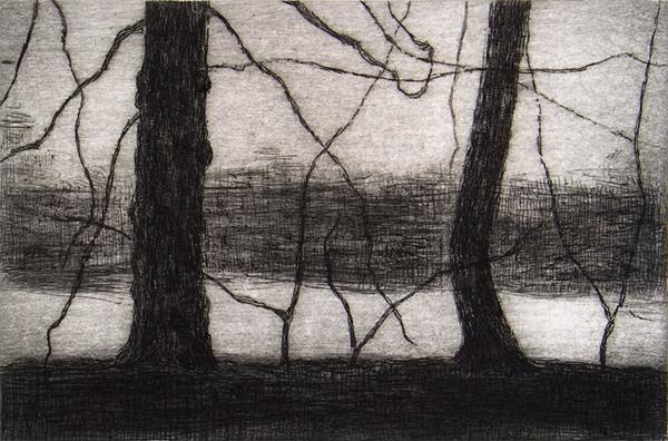 """""""Kungs Parken 9"""" (2012). Aguafuerte y punta seca. © Miguel Galano."""
