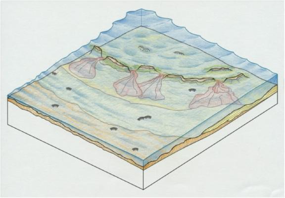 Reconstrucción del aspecto que podría tener el mar cretácico, cálido y somero en latitudes subtropicales, que cubrió la provincia de Segovia hace entre 84 y 79 millones de años.