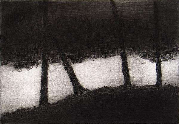 """""""El Neira"""" (2012). Aguafuerte y punta seca. © Miguel Galano."""