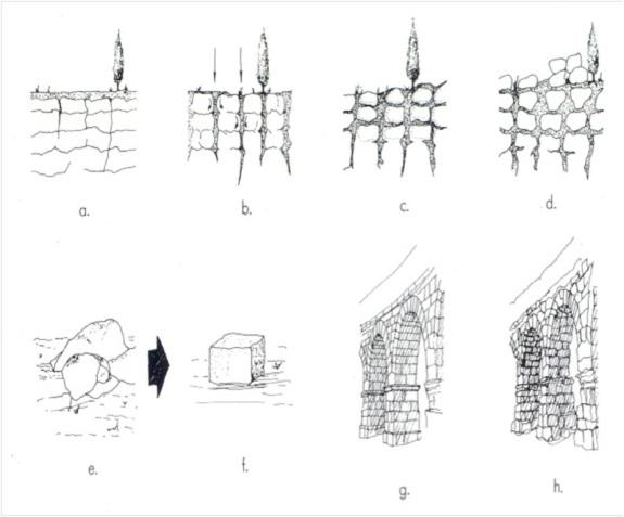 Secuencia evolutiva de los granitoides que constituyen los sillares del acueducto de Segovia.