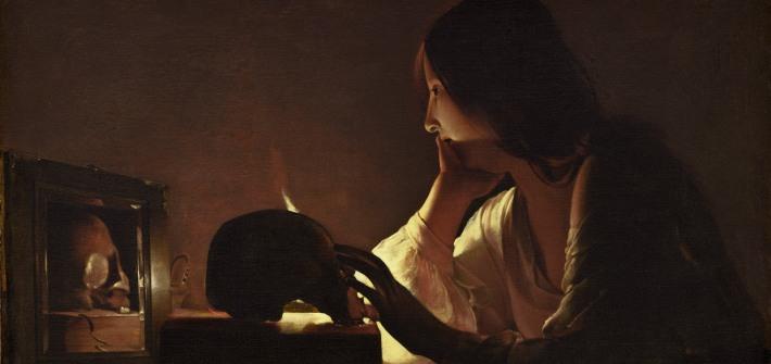 Fragmento de «La Magdalena penitente del espejo», de Georges de la Tour. National Gallery Washington.