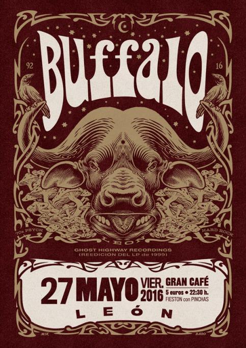 Cartel de concierto en León. Diseño de Mik Baro.