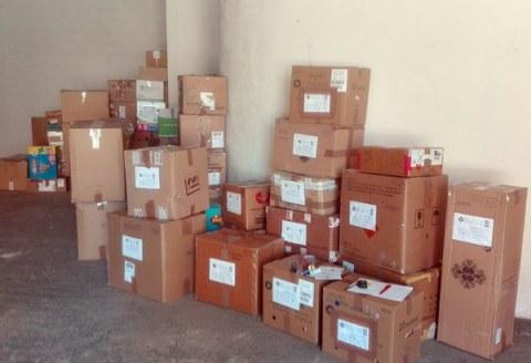 Parte del material recogido en León y enviado a Madrid con destino a Siria.