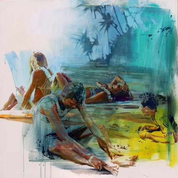 """Beatriz Seijo. """"Playa Temae"""". Óleo sobre lienzo."""