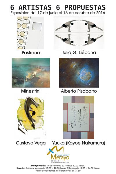 """Cartel: """"6 Artistas 6 Propuestas""""."""
