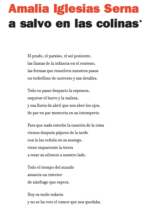 """Un poema del libro inédito """"La sed del río"""", de Amalia Iglesias, publicado en la revista """"Minerva"""" (CBA)."""