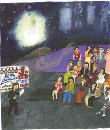 Dibujo de El Caminante, quien pasaba por ahí.... / Tomado del FB del Ágora de la palabra.