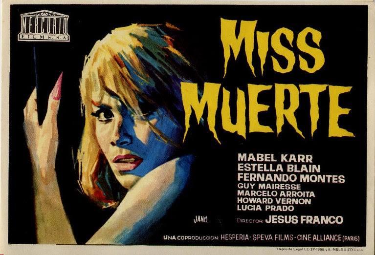 Folleto de mano de The Diabolical Dr. Z aka Miss Muerte (1966), dibujado por Jano. El cartel y la guía de sala tenían una ilustración diferente y para Jess Franco fue su primer éxito fuera de España.
