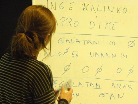 Taller de voz con Cristina Samaniego en el Musac, dentro del I Festival de Poesía Expandida UROGALLO. Foto: E. Otero.