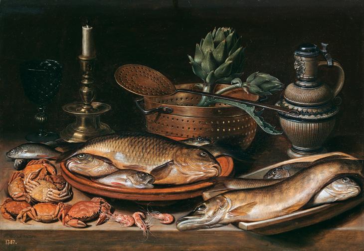 Clara Peeters. Bodegón con pescado, vela, alcachofas, cangrejos y gambas (1611). Madrid, Museo Nacional del Prado.