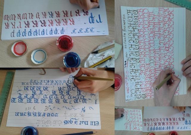 Diferentes ejemplos de caligrafías realizadas en los talleres de