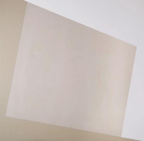 Obra de David del Bosque. De la serie Espacios: # 26 (ampliación). Metal y vinilo sobre madera. 100 × 100 cm.