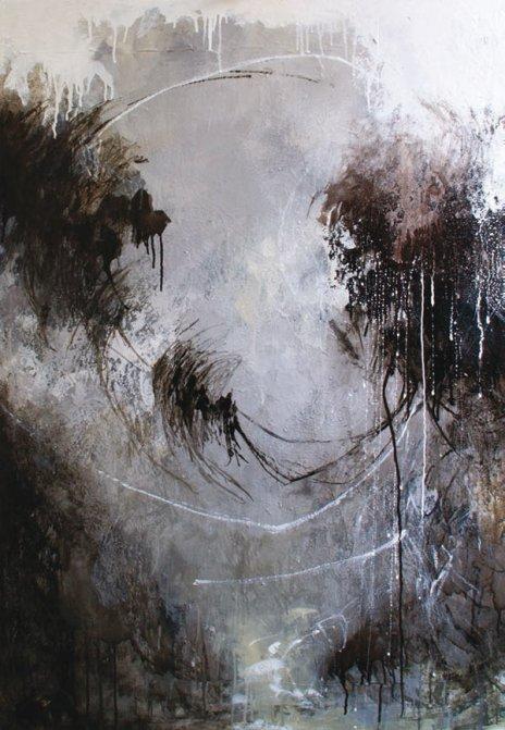 Obra de Laura Juárez. Columpio II. Técnica mixta. 120 × 80 cm.