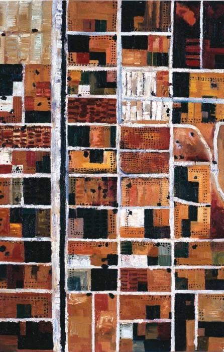 Obra de Carolina de la Fuente. CdF0808 Desierto en Israel. Óleo sobre lienzo. 114 × 73 cm.