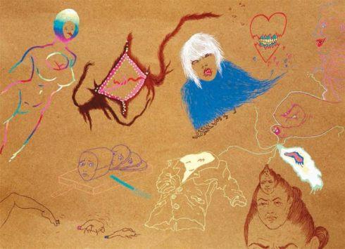 Obra de Saelia Aparicio. Gran Jarl. Dibujo con colores sobre cartón. 32,5 × 45 cm