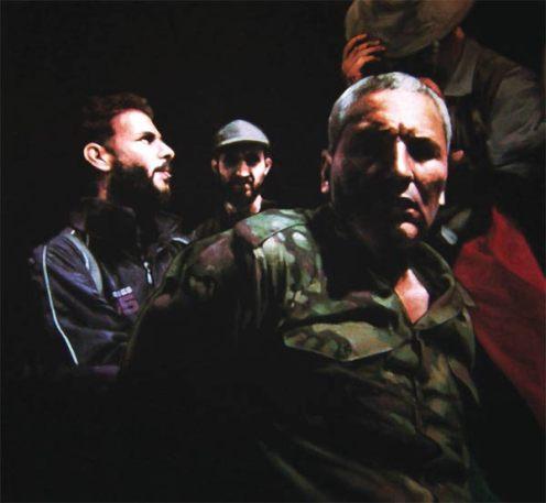 Obra de Diego Arenales. Libya. 06/07/2011. Acrílico sobre lienzo. 125 × 135 cm.