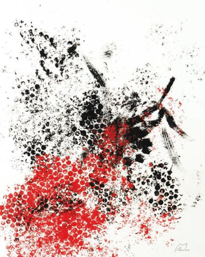 Obra de Luis Velasco. Occidente & Oriente. Acrílico sobre papel. 49 × 39 cm.