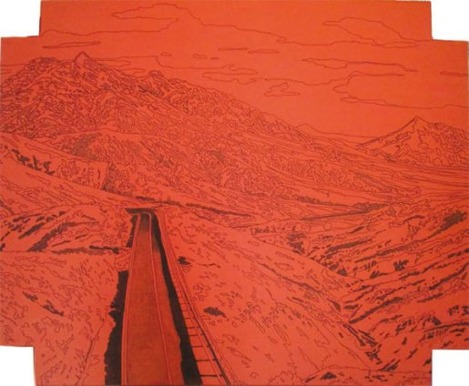 "Obra de Inés García Candau. ""¿Marte o Fuerteventura?"". Rotulador, carboncillo y barra mixta sobre lienzo. 180 × 152 cm."