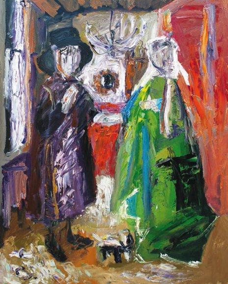 Obra de Javier Bolaños. El matrimonio Arnolfini. Óleo sobre tabla. 81 × 61 cm.