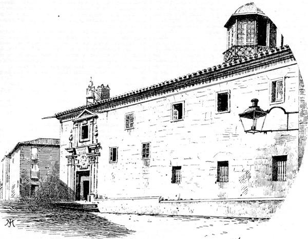 """Dibujo a plumilla del Instituto Provincial, realizado por Isidro Gil. El dibujo está sacado del libro """"Soria"""" (1889)."""