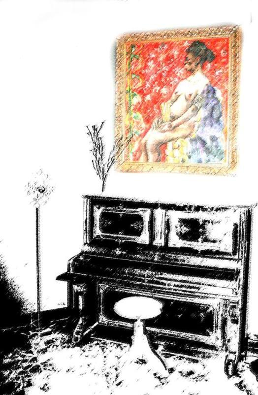 El piano del Hotel Quindós, hace unos años, con un cuadro de Luis G. Zurdo.
