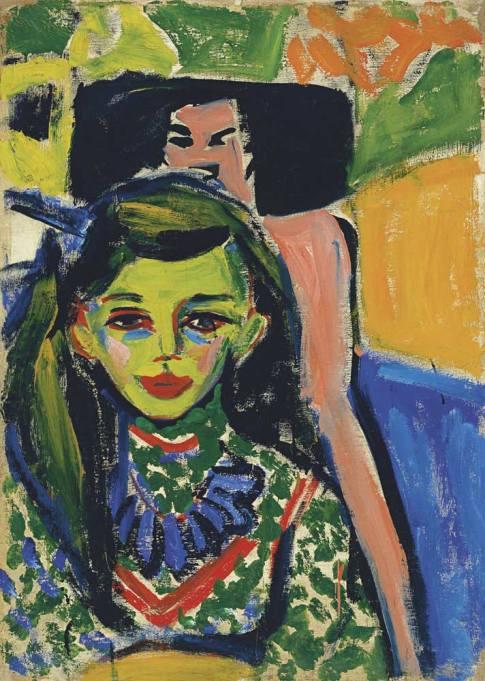"Ernst Ludwig Kirchner. ""Fränzi ante una silla tallada"" (1910)."